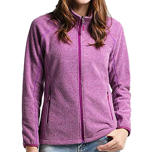 CIKRILAN Women's Outdoor Thermal Fleece Jacket Bodywarmer Ladies Full Zip Long Sleeve Casual Polar Fleece Coat Sweater Trekking(XXL, Purple)