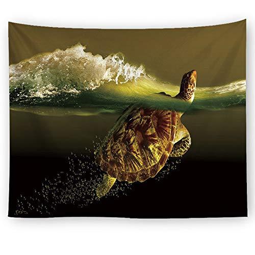 XIAOBAOZIGT wandtapijten wandtapijten schilderachtige zee muur opknoping groene schildpad en spuit 3D digitale afdrukken strand picknick deken camping tent reismat huisdecoratie 150×100cm