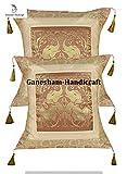 Ganesham artigianato–copridivano decorativo a mano broccato di seta Zari elefante cuscino etnico copertura del cuscino tradizionale vintage chic boho Boemia modello federa indiano cuscino