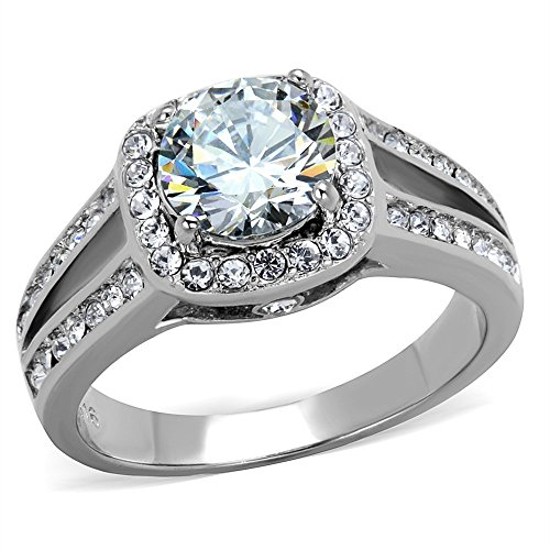Halo Cubic Zirconia Stainless Steel Engagement Ring Band Women's