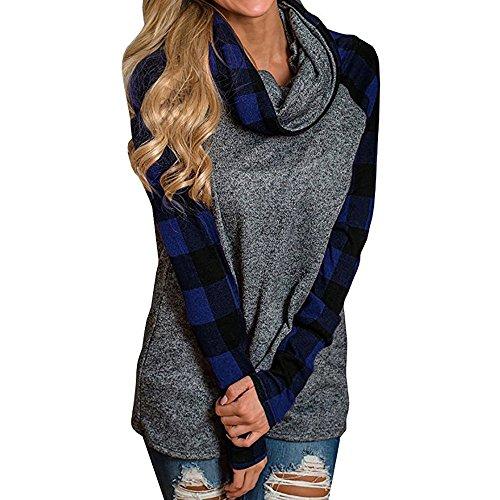 FRAUIT dames rolkraagpullover geruit blouse hemden tuniek lange mouwen pullover sweatshirt ruit hemdblouse boyfriend blousenshirt vrije tijd zachte comfortabele kleding mode elegant streetwear