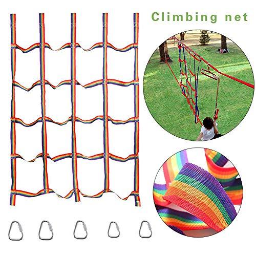 AIPZDJ Kletternetz Für Kinder Regenbogen Nylon Netz Draussen Kids Physikalisch Ausbildung Zubehör Band Netzwerk Kinder Leichtathletik Zum Täglich Sport Unterhaltung