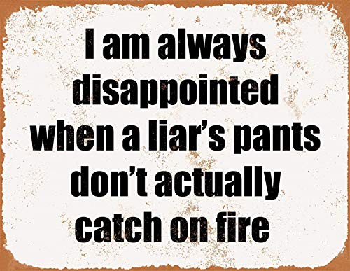 Disappointed Liar pants fire Fun Funny Humour Office Vintage Retro Man Cave Bar Pub Shed Novelty Gift Aluminium Metal Tin Wall Décor Sign
