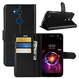 HualuBro LG X Power 3 Hülle, Premium PU Leder Stoßfest Klapphülle Schutzhülle HandyHülle Handytasche Wallet Flip Hülle Cover für LG X Power 3 Tasche (Schwarz)