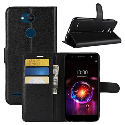 HualuBro LG X Power 3 Hülle, Premium PU Leder Leather Wallet HandyHülle Tasche Schutzhülle Flip Case Cover mit Karten Slot für LG X Power3 Smartphone (Schwarz)