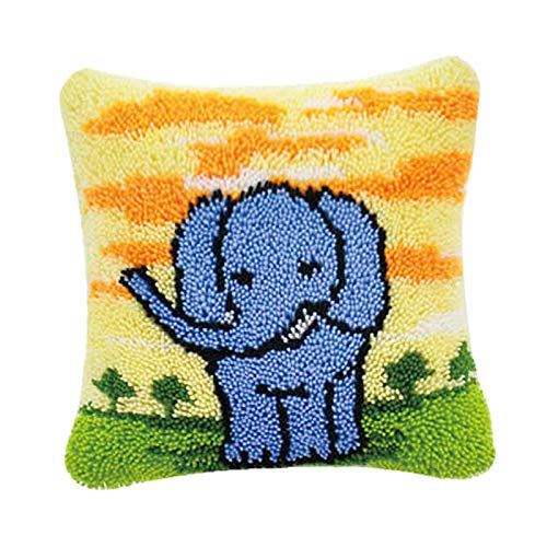 Abbraccia 17x17'' Latch Hook Rug Kits Throw Pillow Cover Kit Sofa Cushion Punch Embroidery Yarn, Pillowcase DIY Kit Pre-Printed DIY Punch Blanket Material - Elephant
