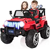 angstep 2 Seater Kids Electric Car, 12v Battery Cars for Kids w/2.4G Remote Control, Spring Suspension, LED Lights, Horn, Bumper Guard, Openable Doors Blue (Black)