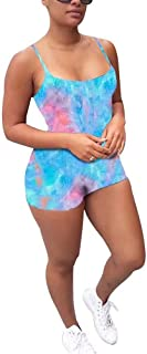 IyMoo Womens Spaghetti Strap Jumpsuit Solid Color Sleeveless Bodycon Short Romper Catsuit Blue Pink-2 2XL