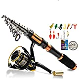 BNTTEAM 6 Set 2.1m, 2.4m, 3.0m 3.6m 99% Canna da Pesca telescopica in Carbonio e 12BB Muli...