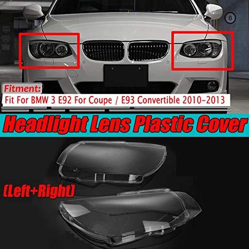 KKLL Auto Scheinwerfer Shell Cover Auto-Frontscheinwerfer Objektiv Deckt Sich Fit for BMW 3er E92 for Coupe/Cabrio E93 2010-2013 Links/Rechts Scheinwerfer Objektivabdeckung Auto Objektiv Shell
