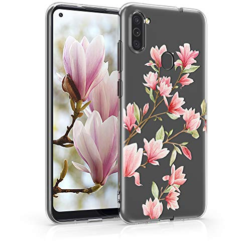 kwmobile Hülle kompatibel mit Samsung Galaxy M11 - Hülle Handy - Handyhülle - Magnolien Rosa Weiß Transparent