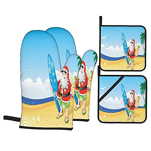 Navidad Santa Claus en la Playa con Tabla de Surf Celebración de la Fiesta de ve,Juegos de Manoplas para Horno y Porta Ollas,4Pcs Impermeable Guantes Almohadillas para Cocina Cocinar Hornear Barbacoa