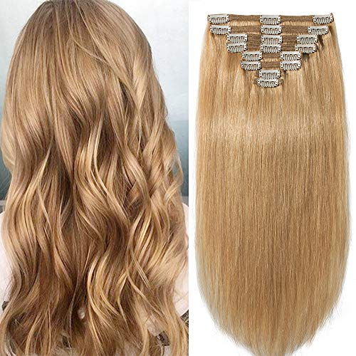 8 Mèches Extensions de Cheveux Humains a Clips Naturels #27 Blond Foncé - Double Epaisseur (Double Weft) - 100% Remy Hair (45cm-140g)