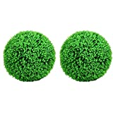 cherrypop 2Pcs Artificial Plant Ball 11.8Inch Boxwood Buxus Grass Topiary Balls,Indoor Outdoor Fake Plant Wedding Party Decoration