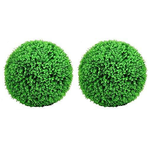 Heritan 2 bolas artificiales para plantas de boj de 38 cm, bolas de boj para decoración de fiesta de boda para interiores y exteriores