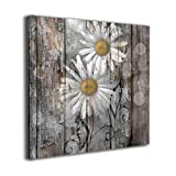 Yanghl Canvas Wall Art Prints Rustic Farmhouse Daisy Flowers Country Yellow Brown White Modern Decorative Artwork for Wall Decor and Home Decor Framed Ready to Hang 12'x12'