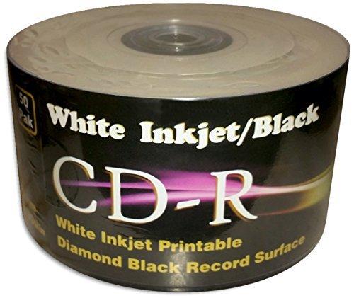 White Inkjet Printable/BLACK 80-Minute CD-R's 100-Pak in Shrinkwrap (2 x 50-Pak)