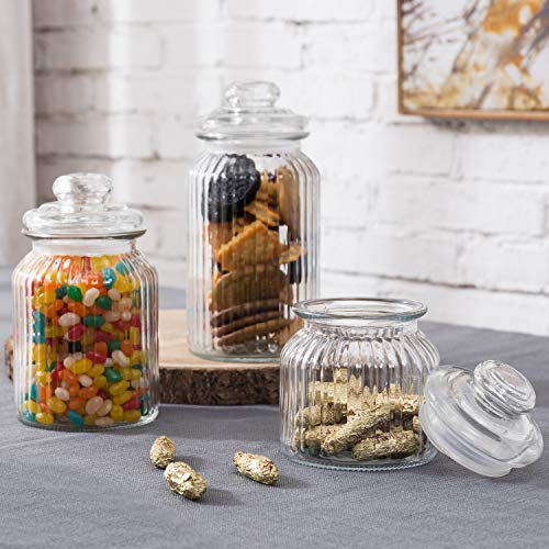MyGift 22oz / 32oz / 44oz Vintage Ribbed Glass Apothecary Jars, Storage Canisters with Airtight Lids, Set of 3