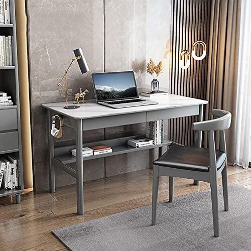 Estudio de Escritura Mesa de Escritorio Escritorio de Computadora Gancho para Auriculares Estantes de Almacenamiento Estilo Moderno y Simple Dormitorio Oficina en casa Gris