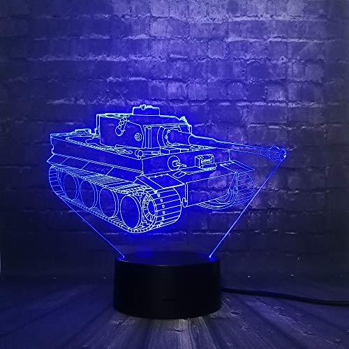 Tankwagen 3D LED-nachtlampje Babykamer Decor Vechtstrijd RGB USB-lamp Slaaplicht 16 Kleurwissel RC Car Christmas Gift Toy
