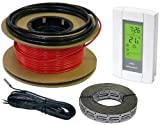 90sqft 240V HeatTech 60-120 sqft Electric Radiant In-Floor Heating Cable System Kit, 360 ft long Hating Cable + Digital 7-day Programmable Floor Sensing Thermostat TH115-AF-240S and FREE Cable Guides