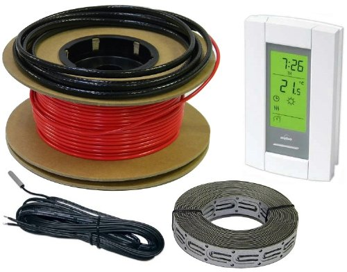 20 sqft 240V HeatTech 15-25 sqft Electric Radiant In-Floor Heating Cable System Kit, 80ft long Heating Cable + Digital 7-day Programmable Floor Sensing Thermostat TH115-AF-240S + Free Cable Guides -  HTCBLKIT-240-80