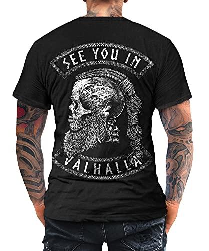 Trillest Gear See You in Valhalla Tshirt Vikings Ragnar Skull Odin Celtic Runen (L)