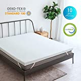 CO-Z 3-Inch Gel-Infused Cooling Memory Foam Mattress Topper Queen Size, Ventilated Air Cell Technology, w/Removable Ice-Silk Cover, Perfect for Summer Use, CertiPUR-US Certified, 10-Year Warranty