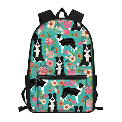 FANCOSAN Cartoon Border Collie Floral Shoulder Bags Backpacks for Womens Laptop Bagpack