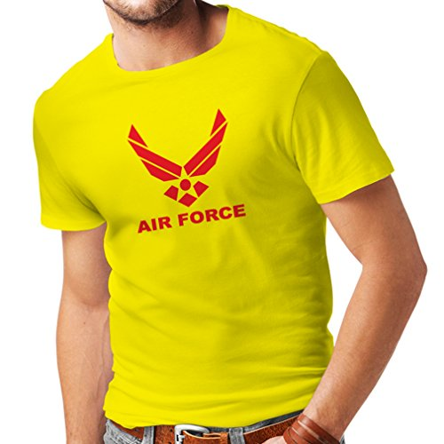 lepni.me Camisetas Hombre United States Air Force (USAF) - U. S. Army, USA Armed Forces (Small Amarillo Rojo)