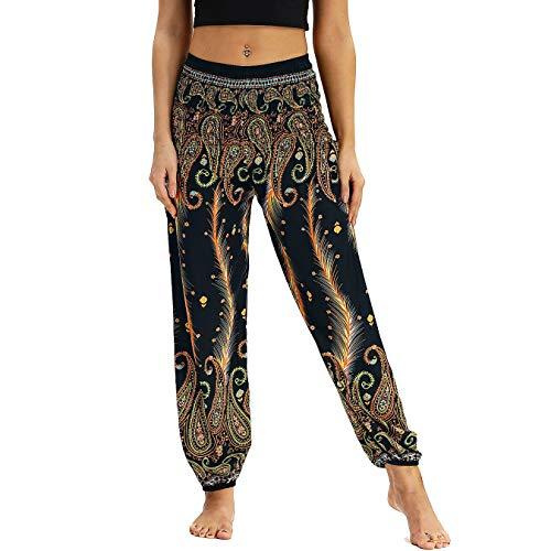 Nuofengkudu Damen Hippie Haremshose Capri Thai Hose Leichte mit Taschen Dünn Boho Ethno Blumenmuster Muster Strand Sommerhose Yogahose Gold Pfau