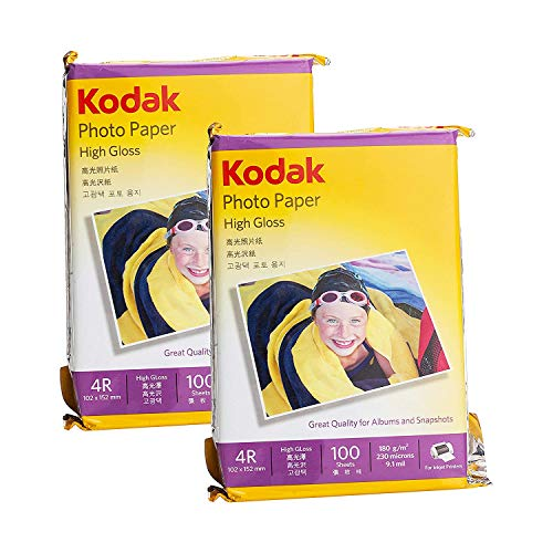 Kodak 180 GSM 4R (4 x 6) Photo Paper High Glossy – Pack of 2 (200 Sheets)