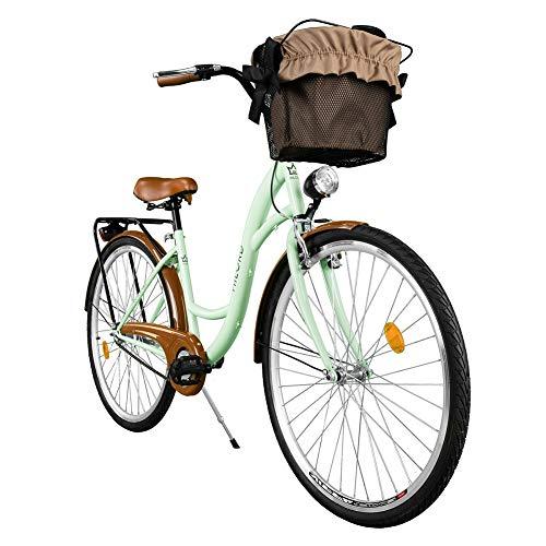 Milord. Vélo de Confort avec Panier, Byciclette, Vélo Femme, Vélo de Ville, 1 Vitesse, Menthe, 28 Pouces