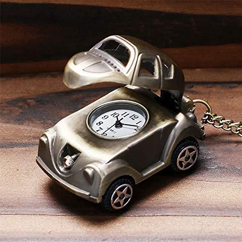 LXZSP Schöne süße Auto Form Quarz Taschenuhr Retro Bronze Halskette Uhr Geschenke für Kinder Jungen Beste Geburtstagsgeschenke reloj Pullover Kette, Geburtstagsgeschenk