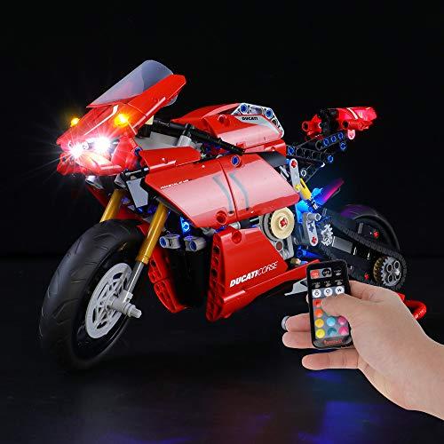 BRIKSMAX Kit de Iluminación Led para Lego Technic Ducati Panigale V4 R,Compatible con Ladrillos de Construcción Lego Modelo 42107, Juego de Legos no Incluido (Versión de Control Remoto)