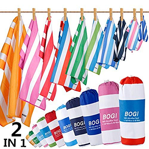 BOGI Microfiber Sports&Travel Towel-XL:79''x39.5''with Hand/Face Towel for Travel Bath Beach Swim Camping Gym Yoga,Dry Fast Absorbent Soft Lightweight-Pouch+Carabiner(XL:Nblue)