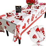 Valentine's Day Plastic Tablecloth Decorations - 3 Pack Disposable Thick Plastic Hearts Rectangular Tablecover (54 X 108 Inch) - Valentines Day Party Supplies, Wedding Anniversary Birthday Decor