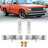 DEPO 4 Pieces COMBO Clear Corner Side Marker Light PLUS Bumper Turn Signal Lamp Set (Left + Right) Compatible for 1982-1993 Chevy S10 S-10 / 1983-1994 Chevrolet Blazer