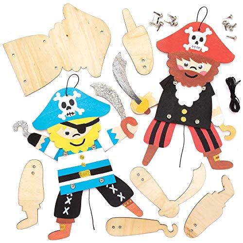 Baker Ross Kits de Marionetas de Madera Piratas (paquete de 4) plantillas de madera en blanco para construir sus propias marionetas móviles