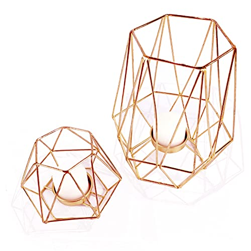 Geometric Candle Holders Rose Gold Party Decoration Tall and Short Tea Light Votive Candle Stand Rose Gold Desk Accessories Room Decor Set of 2