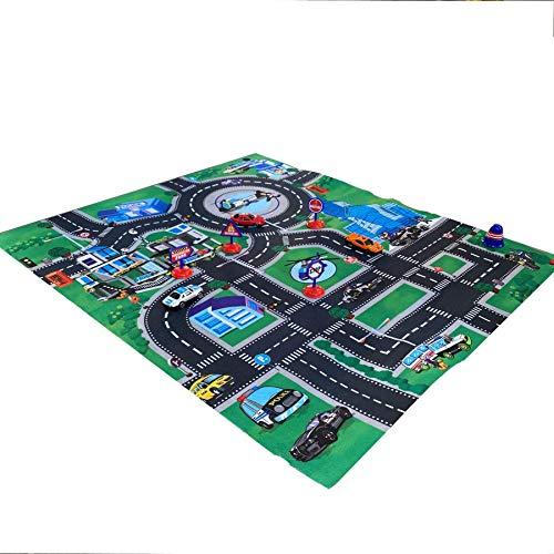 TikTakToo Spielteppich mit Autos und Spielzeug Kinderteppich Straßenspielteppich Spielmatte Polizei Verkehr Straßen Motiv