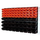Set 6 pannelli per officina con kit di 48 contenitori Inbox misura 2 arancione + 36 conten...