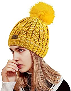 Beanie Hats Winter Knit Beanie for Women,Fleece Lined Cable Knit Slouchy Beanie with Pom Pom
