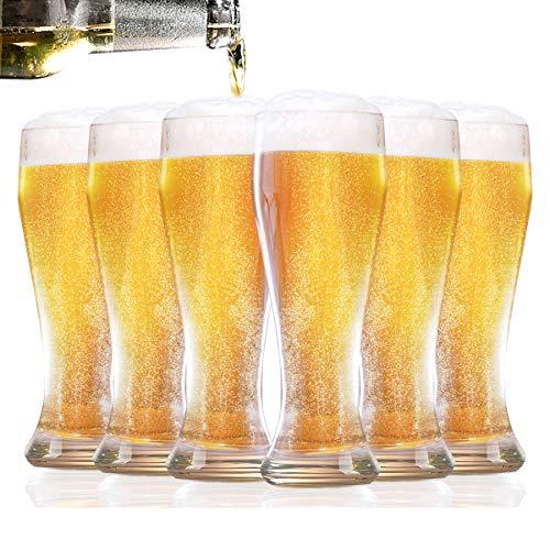 Homewit Weizenbiergläser 6-teilig Set   500 ml Bierglas   Ideal für Zuhause, Garten und Gastronomie(z.B. Hotel-Restaurant, Bar usw)   spülmaschinenfest