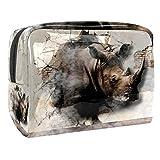 Rhinoceros Coming Out Walls pintura 3D, bolsa de maquillaje portátil, bolsa de...