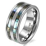 JewelryWe Schmuck 8mm Breite Wolframcarbid Herren-Ring Poliert mit Doppel Abalone Inlay Partnerringe Verlobung Hochzeit Band Größe 75