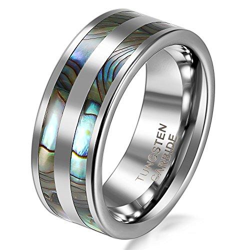 JewelryWe 8mm alta polacos carburo de tungsteno Anillo de hombres de Aniversary/compromiso/boda Band Set con doble Artificial incrustaciones Abalone (tamaño 6–14disponibles)