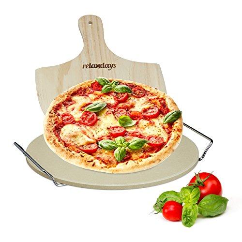 Relaxdays Pizzastein Set 1 cm Stärke mit Metallhalter und Pizzaschieber aus Holz HBT 4 x 32 x 32 cm runder Brotbackstein für Pizza und Flammkuchen mit Pizzaschaufel für Pizzaofen, natur