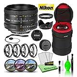 Nikon AF NIKKOR 50mm f/1.8D Compact Prime Lens (2137) USA Model Bundle Package with Padded Lens Case + Macro Filter Kit + UV, CPL, FL Lens Filters + Tulip Hood + Lens Cap Keeper + Lens Cleaning Kit