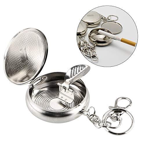 Chisbbu Fahrzeug Zigarettenaschenbecher Tragbarer Aschenbecher mit Schlüsselanhänger Taschenaschenbecher Mini Edelstahl